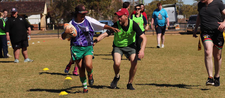Trangie team playing rugby league